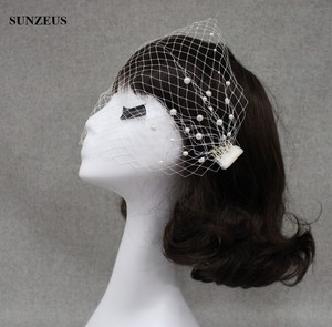 Image 5 - Big Hole Tulle Face Veil Pearls Bridal Hats Hand made Side Comb Wedding Accessory SQ0186