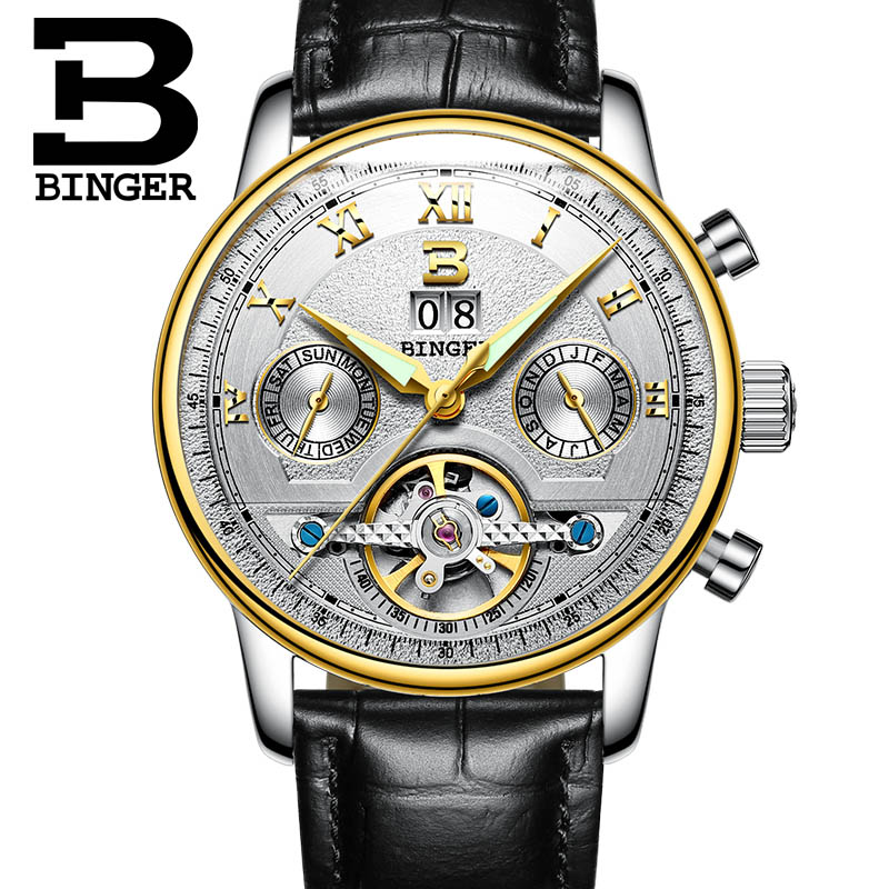 BINGER/2016 Watches Men Luxury Top Brand tourbillon Mechanical Watch Fashion business sport casual Wristwatch relogio masculino