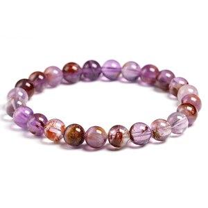 Genuine Natural Auralite 23 Bracelets Natural Stone Stretch Amethyst Round Bead Gem Bracelet Women Men Fine Jewelry Gift(China)