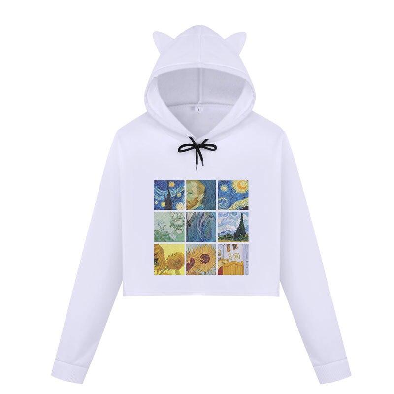 Women Fashion Van Gogh Print Sweatshirt Harajuku Long Sleeve Crop Top Hoodie Cute Cat Ear Casual Cropped Hoodies Women Pullovers