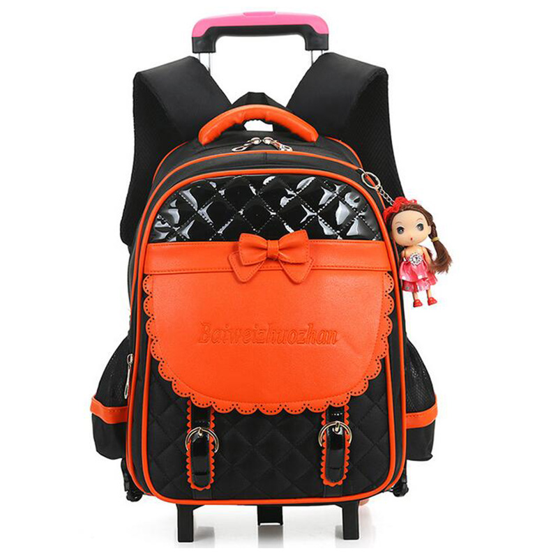 new designer children burden trolley school bag girls cute bow kids wheeled backpack good quality