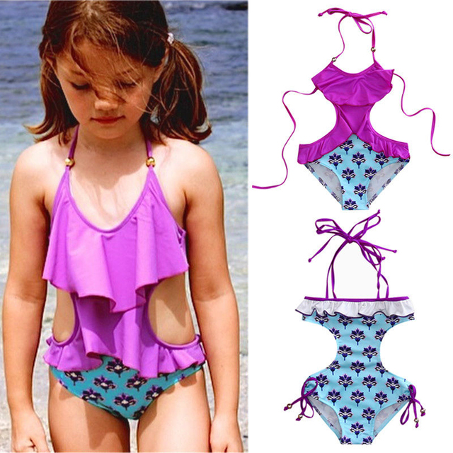 9eeb360dc1d3c 2017 Toddler Kid Baby Girls Bikini Set Floral Swimwear Swimsuit Monokini  Bathing Suit Swimsuit Low Back High Cut Kids Beachwear