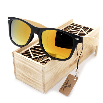 BOBO BIRD Black Square Sunglasses With Bamboo Mirrored