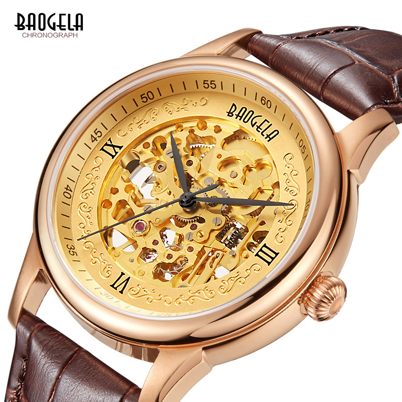 BAOGELA Mens Skeleton Analogue Mechanical Watches Fashion Leather Strap Gold Dial Waterproof Wrist Watch for Man 1710-BrownBAOGELA Mens Skeleton Analogue Mechanical Watches Fashion Leather Strap Gold Dial Waterproof Wrist Watch for Man 1710-Brown