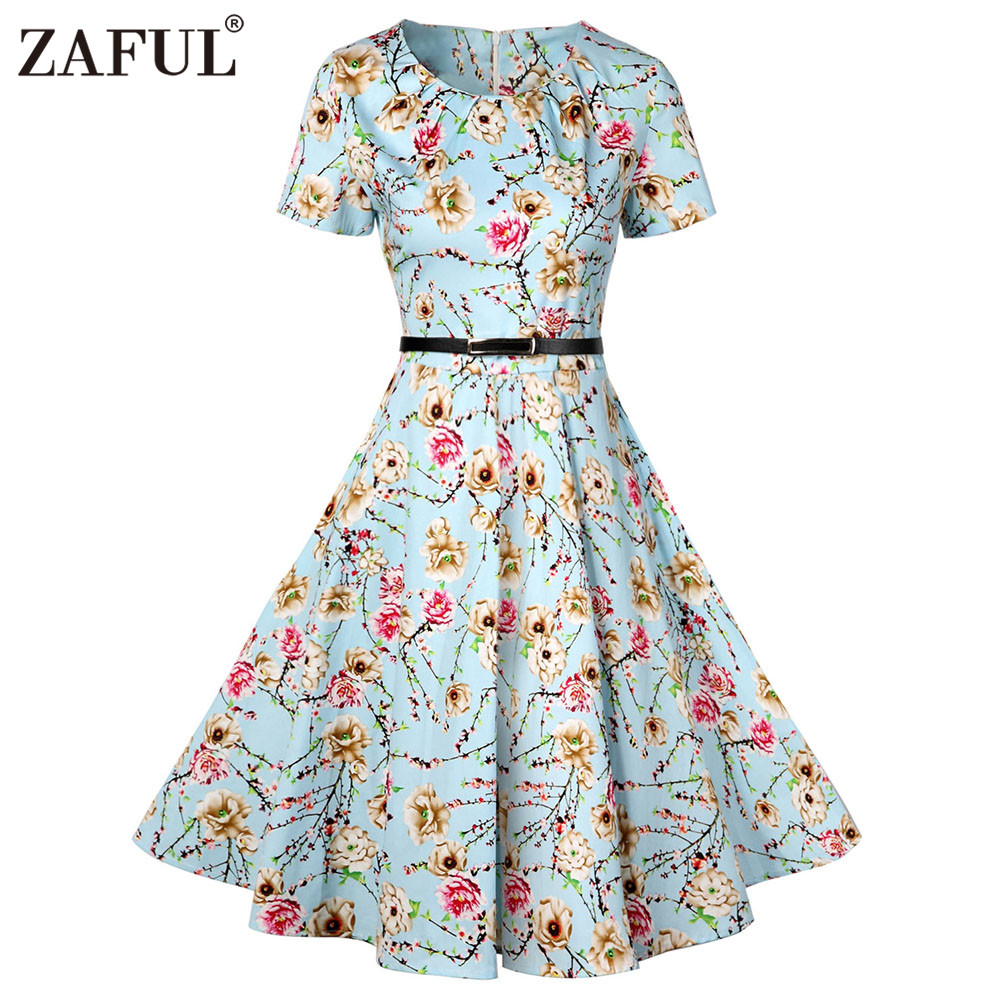zaful vintage pin up floral print dress women o neck short