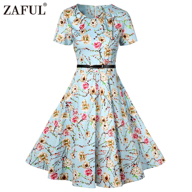 cfa1963d613 ZAFUL Vintage Pin Up Floral Print Dress Women O-Neck Short Sleeve A-Line