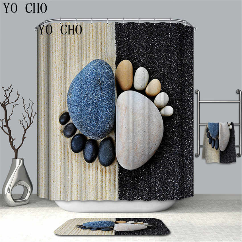 YO CHO Types Of Pattern Shower Curtain Waterproof Mildewproof Bathroom Curtain Bathroom Home Decor With Hooks High Quality Gift