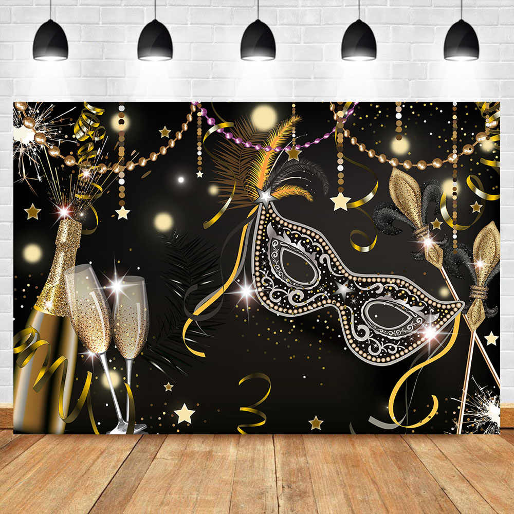 NeoBack Masks Masquerade Party Photo Backdrop Black Feather Champagne Golden Ribbons Birthday Party Photography Background