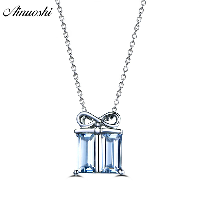 AINUOSHI 1 Carat Emerald Cut Topaz Pendant Necklace 925 Sterling Silver Natural Sky Blue Topaz Wedding Link Chain Fine Jewelry helon sterling silver 925 flawless 11x9mm emerald cut 4 36ct real blue topaz natural diamond engagment wedding ring fine jewelry
