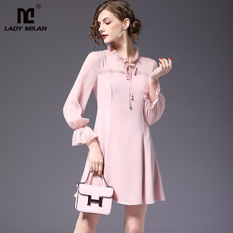 New Arrival 2018 Womens Ruffled Collar Long Sleeves Patchwork Lace Up High Street Casual Dresses