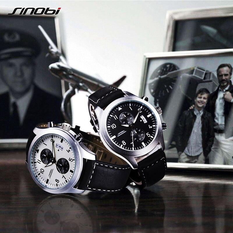 SINOBI New Fashion Sport Men Watches Pilot Quartz Wristwatch Male Black Leather Band Chronograph Relogio Masculino 2017