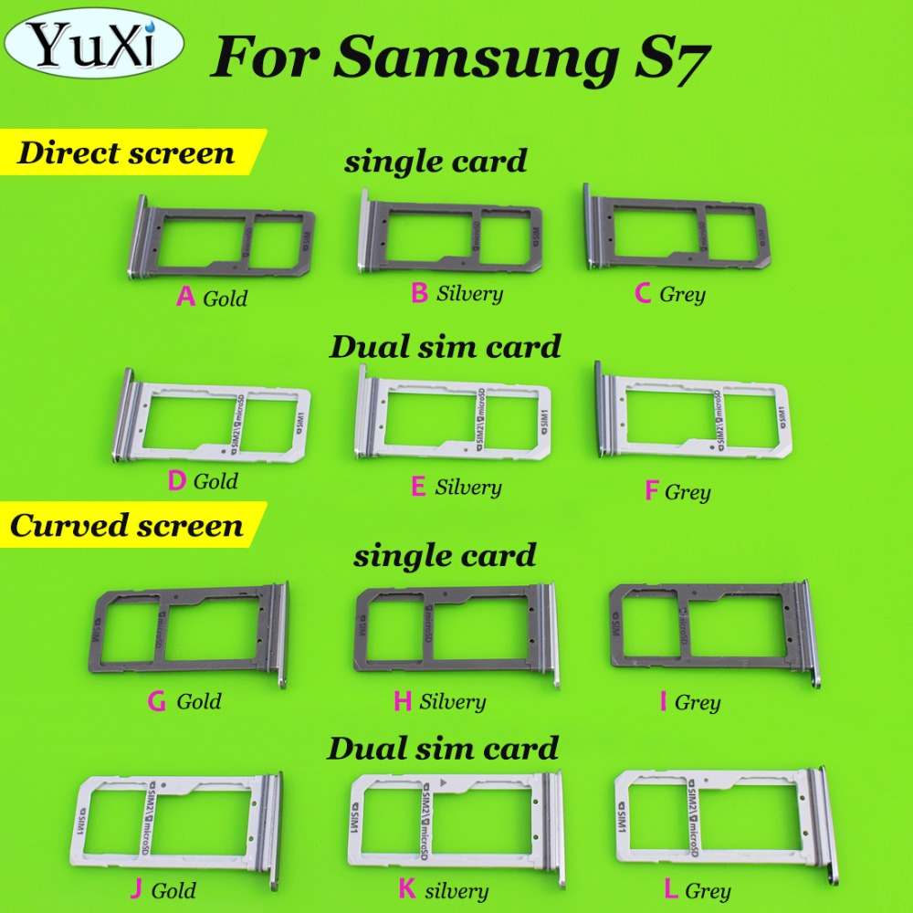 YuXi New Dual SIM/ Single SIM Micro SD Card Holder for Samsung Galaxy S7 G930F/S7 Edge G935F SIM Card Tray Slot Replacement Part image