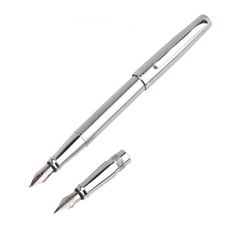цена на Fashion Germany Duke 209 pure white stell Fountain Pen and art calligraphy pen nib luxury Writing metal ink Pen free shipping