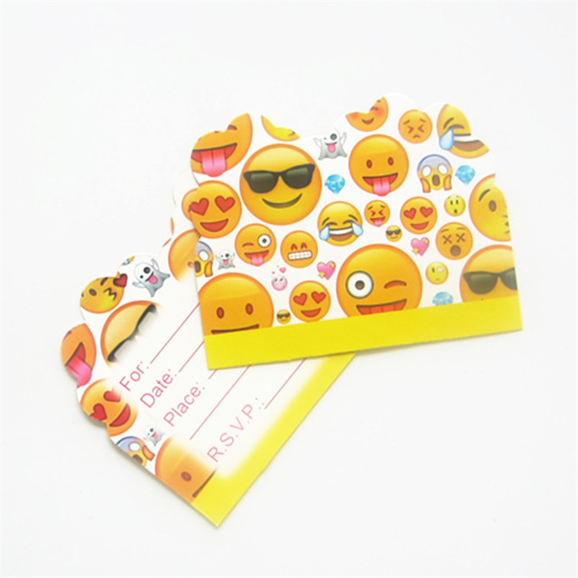 10pcs Lot Emoji Cartoon Theme Happy Birthday Party Decoration Invitation Card For Kids Boys Favors