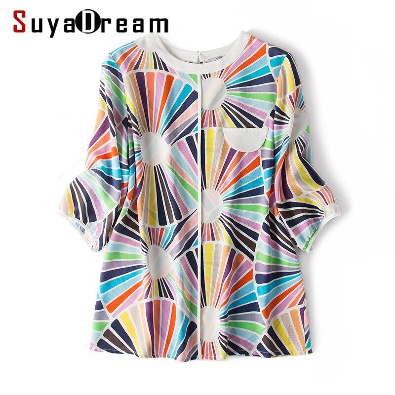 Women Print   Blouse     Shirt   100% REAL SILK Crepe O neck Office Lady Summer   Blouse   Half Sleeved 2019 Summer   Shirt