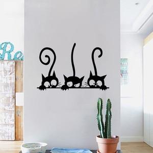 Lovely 3 Black Cute Cats Wall Sticker Moder Cat Wall Stickers Girls Vinyl Home Decor Cute Cat Living Room Children Room(China)