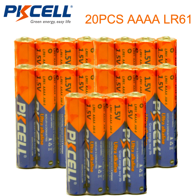 20PCS PKCELL 1.5V Battery AAAA LR61 AM6 Alkaline Battery  E96 Dry&Primary Battery Batteries for stylus pen remote control etc