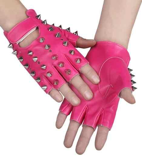 Guantes de piel sintética con remaches punk para niños, guantes con remaches para bailar Rock and roll jazz R388
