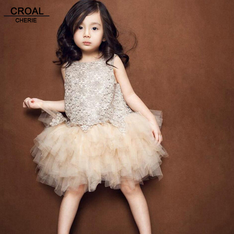 100-160cm Sleeveless Girls Lace Wedding Dress Summer Style princess Costume For Kids Ball Gown Floral Girls Party Dress Cute