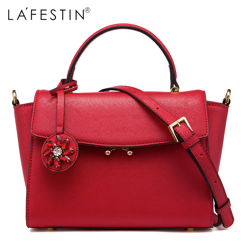 LAFESTIN Women Designer Handbag Real Leather Shoulder Bag Diamonds Ornamens Fashion Crossbody Luxury brands Bags bolsa lafestin luxury shoulder women handbag genuine leather bag 2017 fashion designer totes bags brands women bag bolsa female