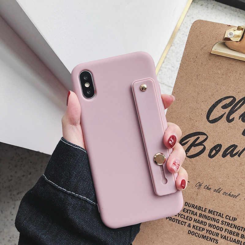 Карамельный цвет для iphone X XR XS MAX 6S 7 8 Plus силиконовый браслет кронштейн мягкий милый чехол для телефона samsung S8 S9 S10 Note 9