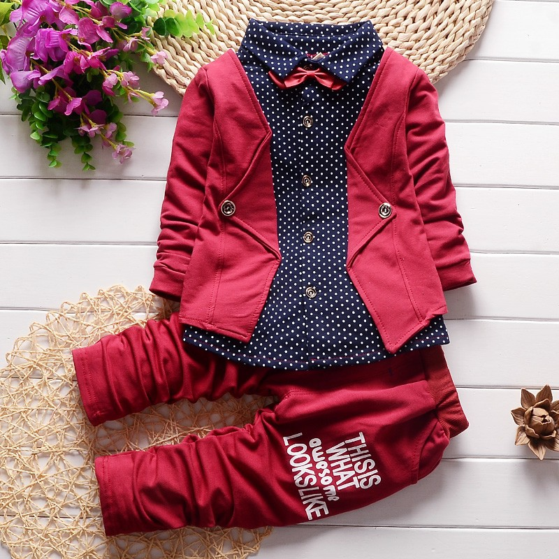 2016 fashion Spring gentleman style children clothing set baby boys clothing set fake three pieces clothes
