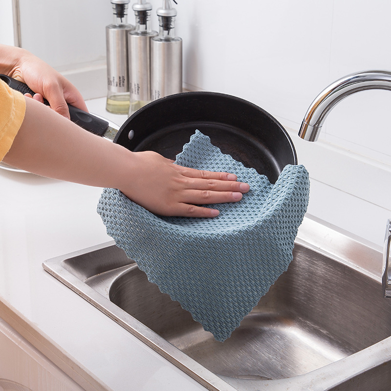 Image 4 - FOURETAW 1 Piece Home Kitchen Car Non greasy Rag Towel Super Absorbent Clean Cloth Sink Cleaning Towels Household Cleaning Tools-in Cleaning Cloths from Home & Garden