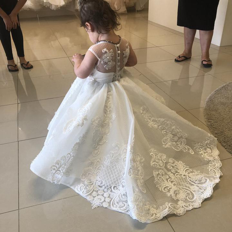 Little Bride   Dress   Cap Sleeves Embroidery Long Kids White Ball Gowns Toddler Tulle Lace   Flower     Girl     Dresses   with Train