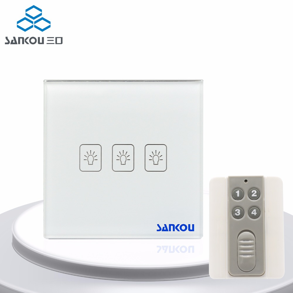Rocker Switch UK Standard Remote Wall Switches with Controller 3Gang1Way 50HZ/60HZ Remote Light Switch 220V with LED Indicator 3gang1way uk wall light switches ac110v 250v touch remote switch