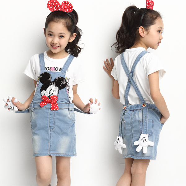 679a13e7337 The New 2016 Children s British Girl Summer Wear Cuhk Children Mickey  Shoulder-straps High Quality