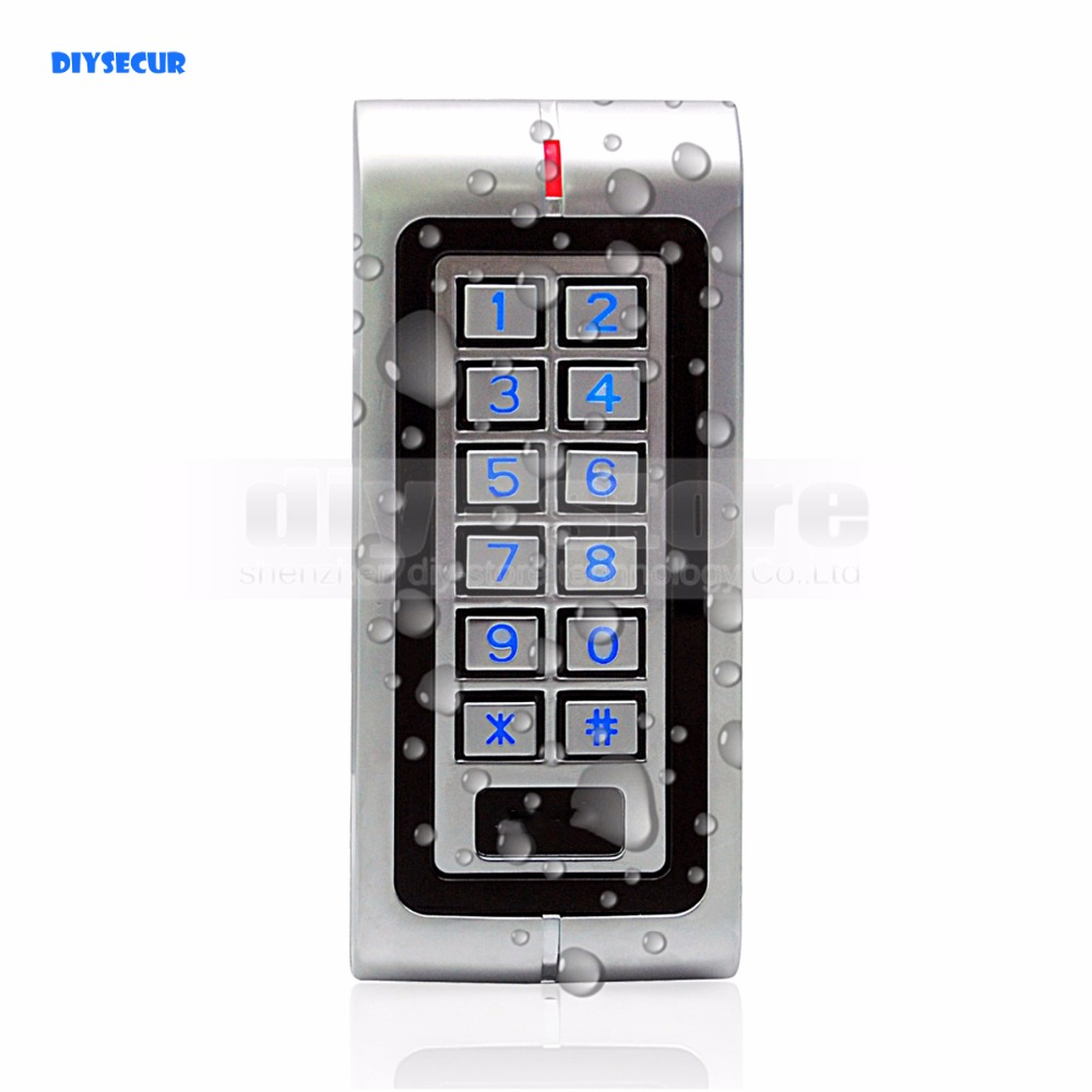 DIYSECUR Waterproof Proximity RFID 125KHz ID Card Reader Access Control Reader Keypad With Metal Case High-performance W1 waterproof touch keypad card reader for rfid access control system card reader with wg26 for home security f1688a