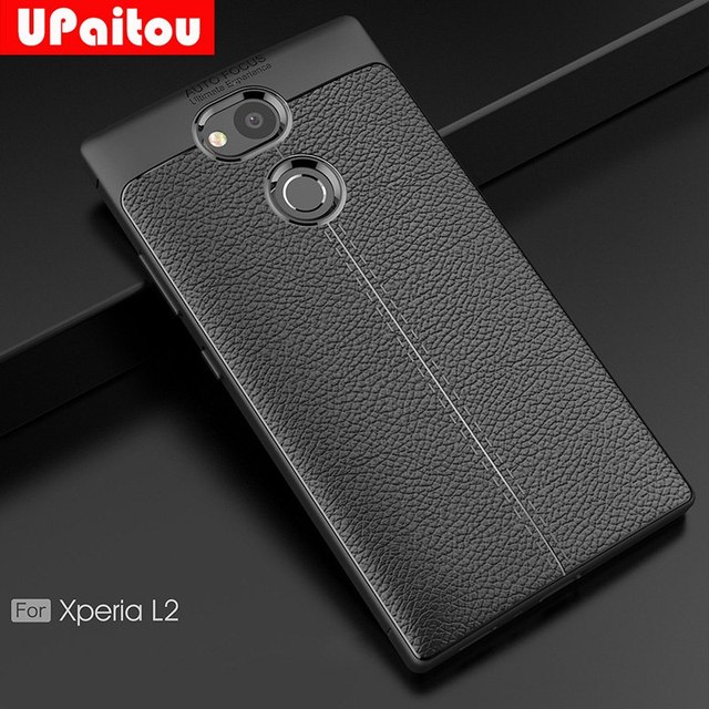 buy online 3a0b1 9d954 US $2.99 25% OFF UPaitou Soft TPU Case for Sony Xperia L2 Case Leather  Texture Silicone Cover for Sony Xperia L2 Phone Case Cover-in Fitted Cases  from ...