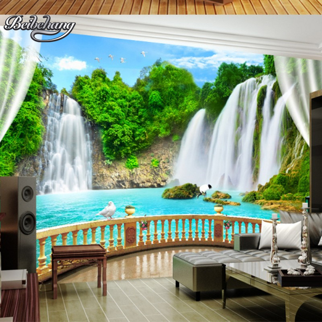 waterfall background living modern landscape sofa bedroom mural zoom beibehang walls custom 3d landscapes wallpapers backdrop mouse