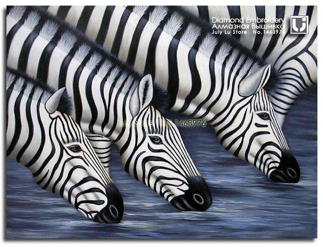 Full Diamond Embroidery Animal Zebra Drinking Water Diy Diamond