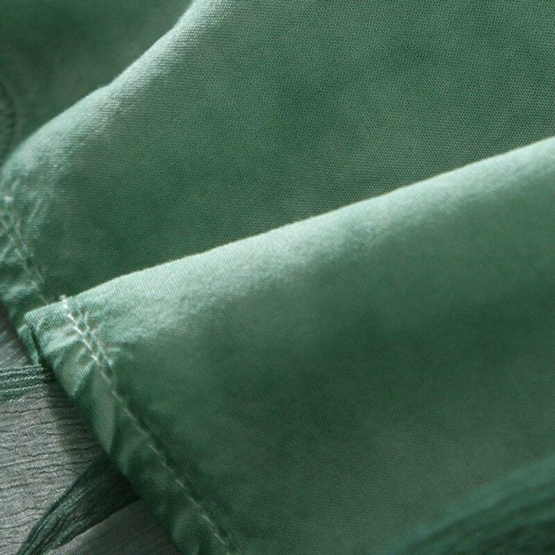 Chart 100 D'été Cardigan See Broderie Marque Femmes bleu Long Soie Piste vert xTnxOzw