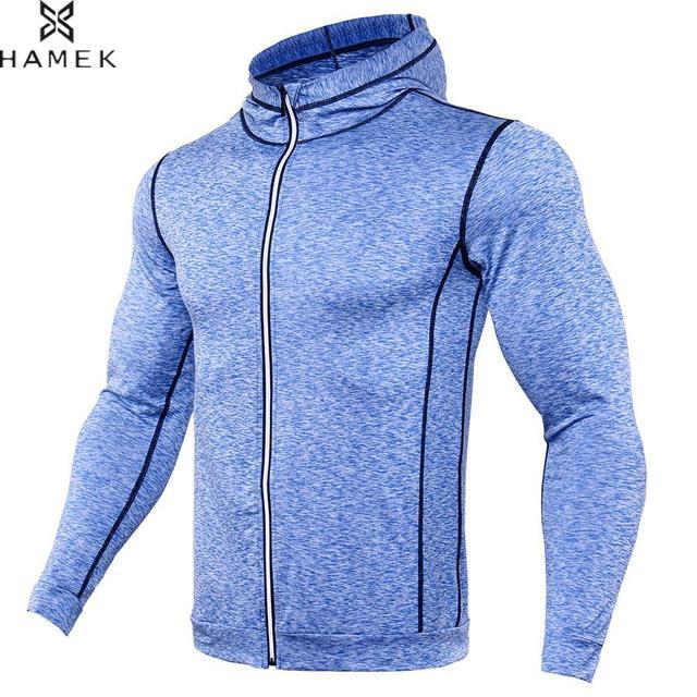 Мужская зимняя спортивная куртка для фитнеса, тренировочная, с длинными рукавами, на молнии, с капюшоном, куртка для баскетбола, футбола, компрессия, светоотражающие рубашки