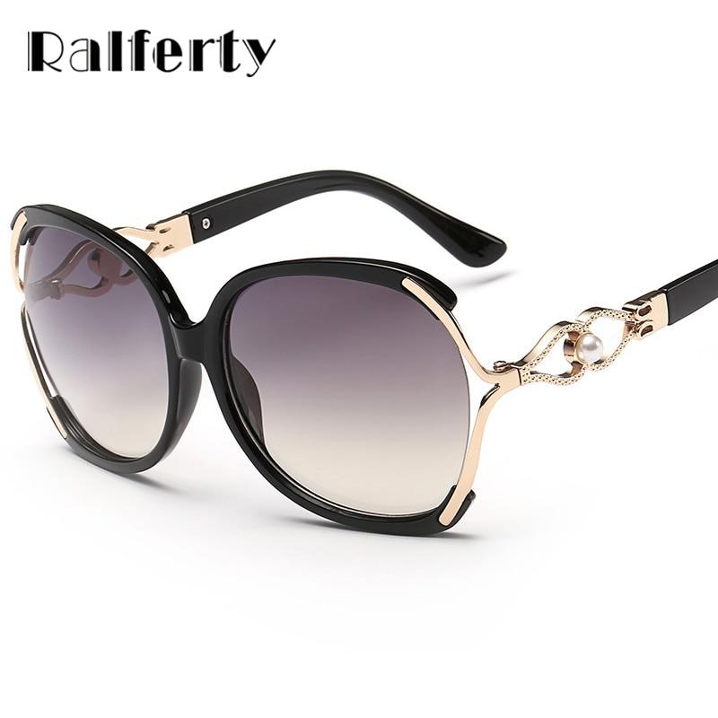 5459c626a8f38e Ralferty Vintage Cristal lunettes de Soleil Femmes Marque Designer Femelle  Percé Gradient Lunettes de Soleil UV400 Oculos lunette femme 512