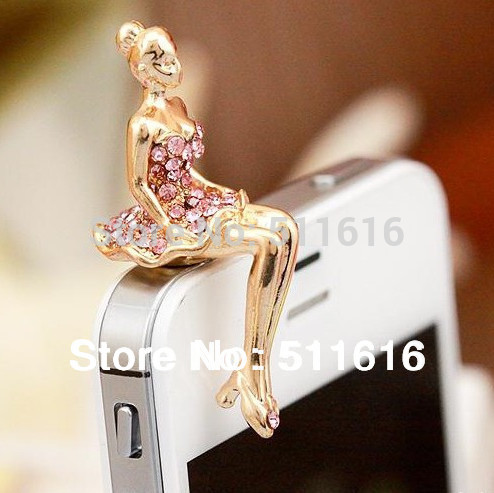 Mobile Phone Accessories Diamond Anti Dust Plug 35mm Earphone Cute For IPhone 6 4 5S 6 All Cell