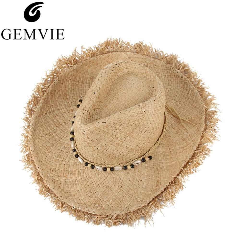 e170fa7c5a9 Vintage Raffia Straw Hats Floppy Wide Large Sun Hat Fashion Fringe Shells  Beads Beach Hats Panama