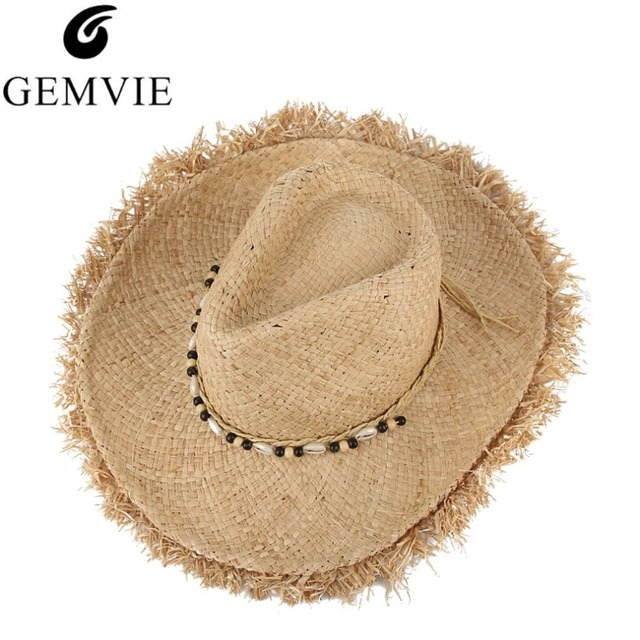 Vintage Raffia Straw Hats Floppy Wide Large Sun Hat Fashion Fringe Shells  Beads Beach Hats Panama Summer Hat For Women 895cdd7069d2