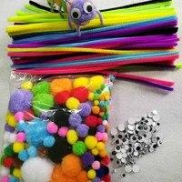 3 pz/set 100 pz Materiali Ciniglia Bambini Bastoni Bastone Giocattoli Montessori Di Puzzle Craft Colorful Tubo Cleaner Mano FAI DA TE Giocattoli