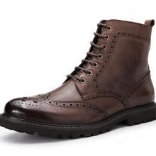 Мужские мотоциклетные ботинки martin Винтаж Стиль с перфорацией в британском стиле кожаные сапоги ме топ из коровьей кожи кожаный ботинок из материала под бычью кожу;