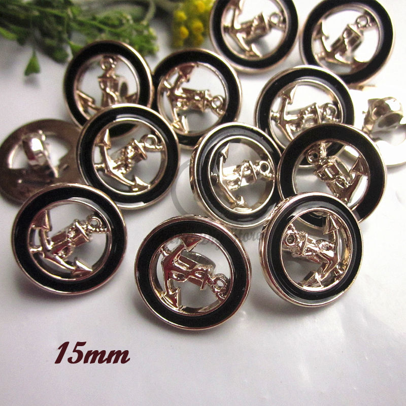 60pcs 15mm 19/32 high quality Gold rim black epoxy hollow anchor sewing buttons for clothing shank Ultralight sewing material