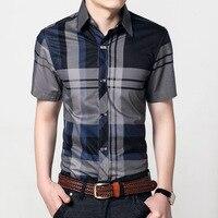 Новая мода Контрастность Цвет воротник Для мужчин рубашка короткий рукав рубашка узкого кроя Для мужчин высокое качество Для мужчин дизайн...