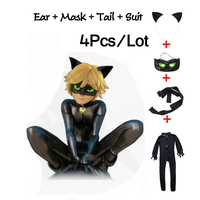 Miraculous Ladybug Cat Noir Halloween Christmas Costume For Boys Cosplay Kids Party Clothes Mask Costumes Jumpsuits