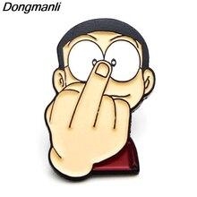 P3782 Dongmanli Cartoon Anime Funny Nobita Nobi  Metal Enamel Brooches and Pins Lapel Pin Backpack Badge Collar Jewelry