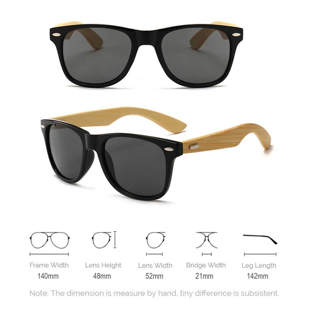 7582e912f6e ... VIVIBEE Best Retro Men Real Bamboo Black Unisex Sunglasses UV400 2019  Classic Wooden Wood Square Glasses ...