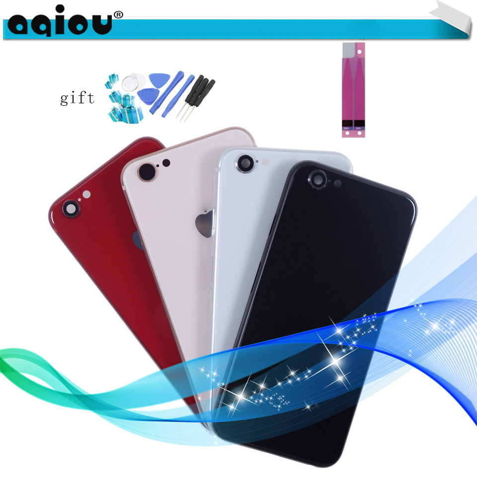 Glass Body Back Housing Case For IPhone 6 Like 8 Style Metal Frame Battery Cover Rear Door For IPhone 6 Plus To 8 Plus