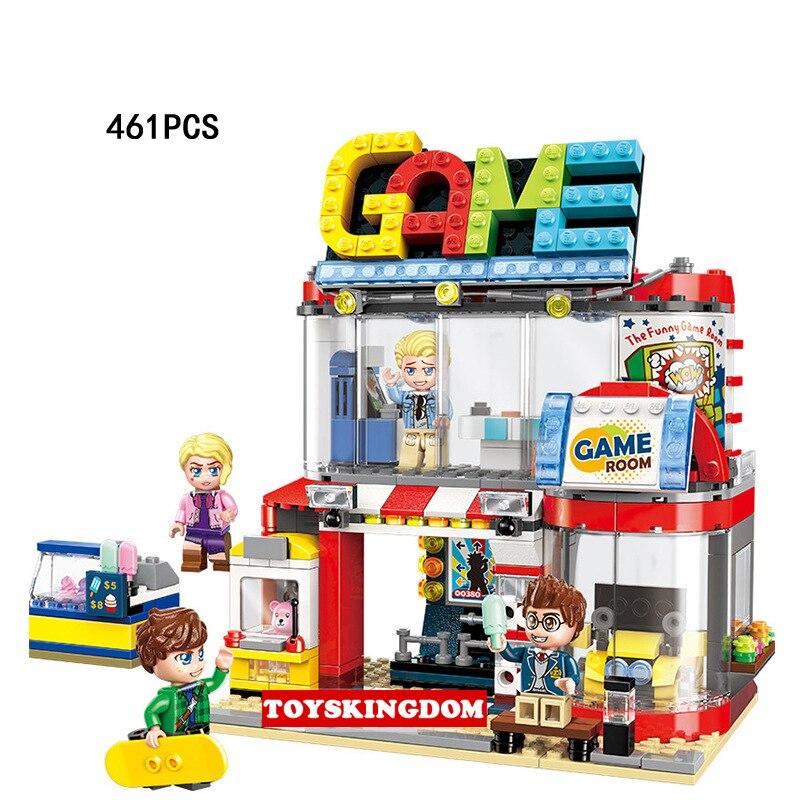 Drôle ville street view divertissement salle de jeux bloc de construction dessin animé figures briques assemable jouets pour enfants cadeaux