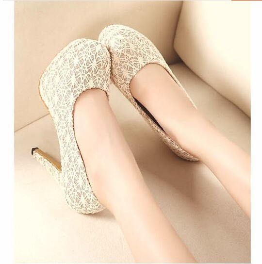 Sweet Cute Women Pumps Platform Lace Super High Heels Shoes Female ... 148e30f2afc0